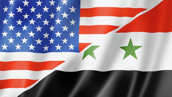 Флаги США и Сирии