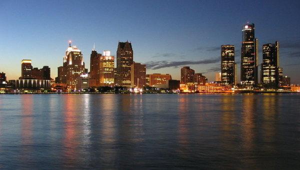 Вид на Детройт Скайлайн
