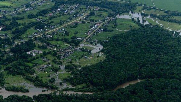 Подтопленное село Кокшаровка в Приморье