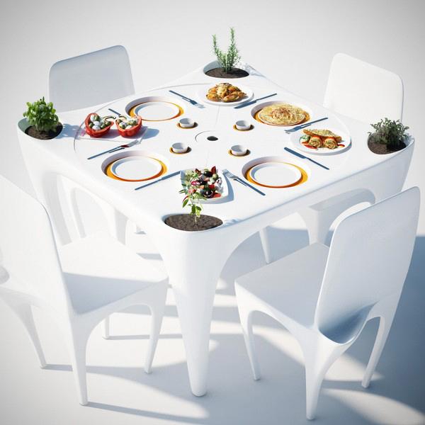 Концепт пластмассовой мебели для сада