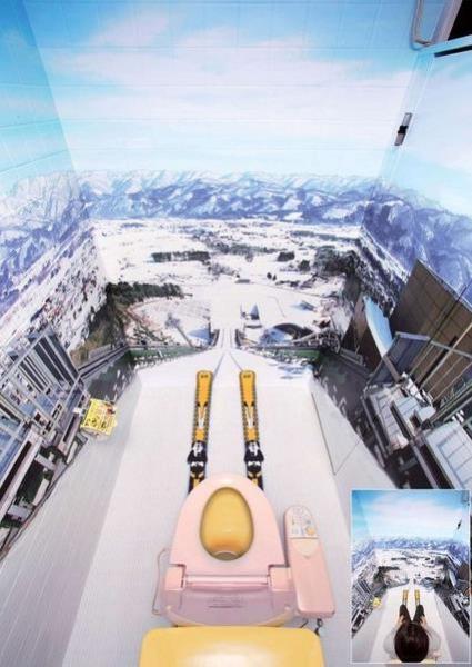 На унитазе с лыжного трамплина