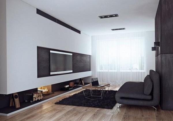 Чёрно-белая квартира для холостяка от Ангелины Алексеевой