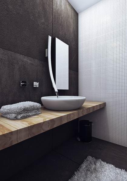В ванной стены отделаны плюшем