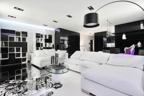 Гостиная в чёрно-белых тонах