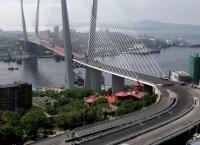 Вантовый мост через бухту Золотой Рог во Владивостоке.