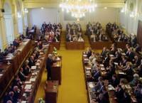 Милош Земан выступает в парламенте Чехии перед вынесением вотума доверию правительству Руснока