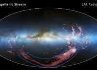 Магелланов поток, протягивающийся между галактиками-спутниками Млечного пути, показан розовым