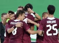 Футболисты Рубина радуются голу, забитому в ворота Молде