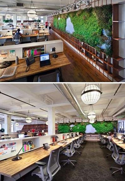 Копия манхэттенского ландшафта на книжной полке оригинальный вариант озеленения офисного пространства