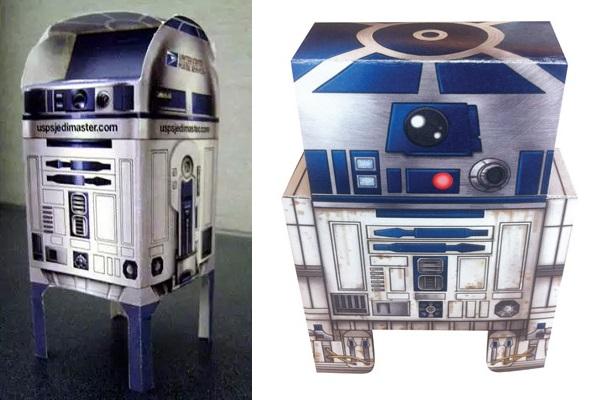 Почтовый ящик и самодельный ящик для бумаг, оформленные в виде R2-D2
