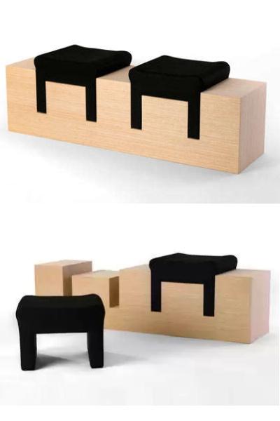 2Stools Nir Meiri - кофейный столик со встроенными стульями